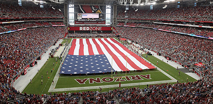 GLENDALE, AZ - SEPTEMBER 15:  Gerneal view of the National Anthem before the NFL game between the Arizona Cardinals and the Detroit Lions at the University of Phoenix Stadium on September 15, 2013 in Glendale, Arizona. The Carindals defeated the Lions 25-21.  (Photo by Christian Petersen/Getty Images)